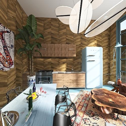 woody cotage Interior Design Render