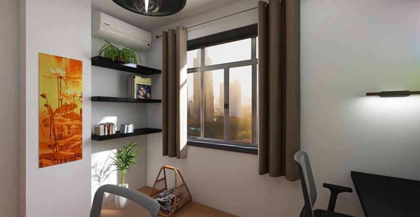 Home Office no Quarto Interior Design Render