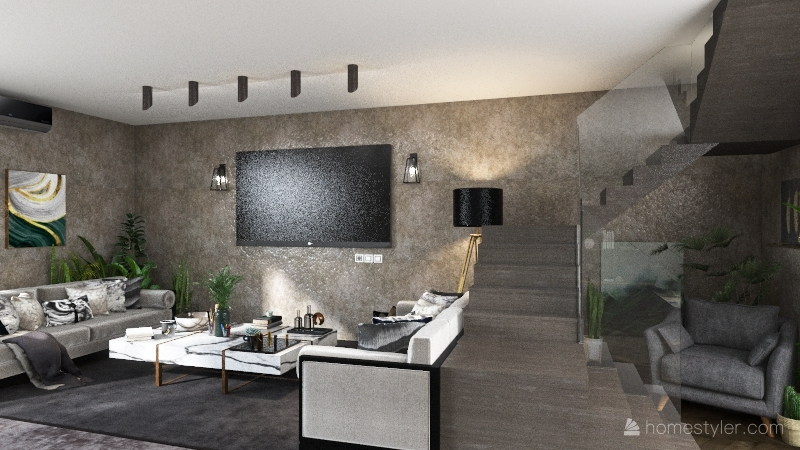 moody dark Interior Design Render