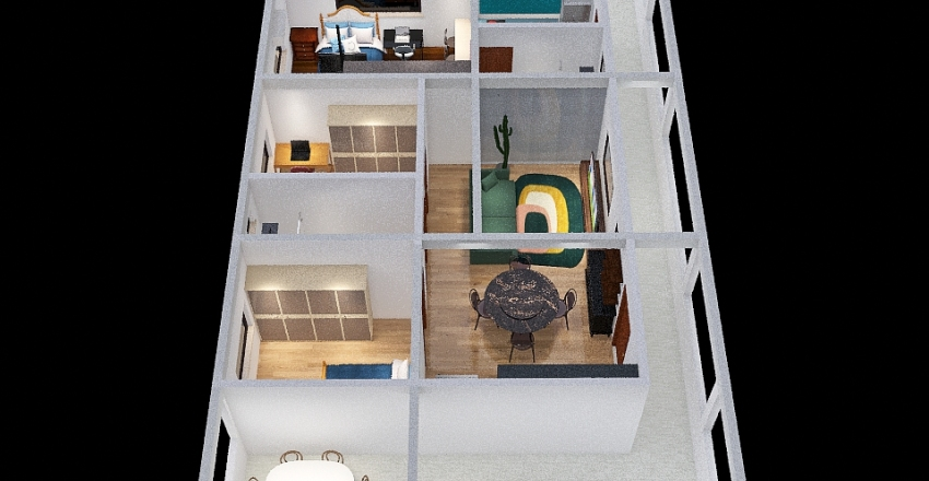 Casa 2Q + Kitnet no 2º Piso Interior Design Render