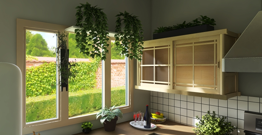 80s style Interior Design Render