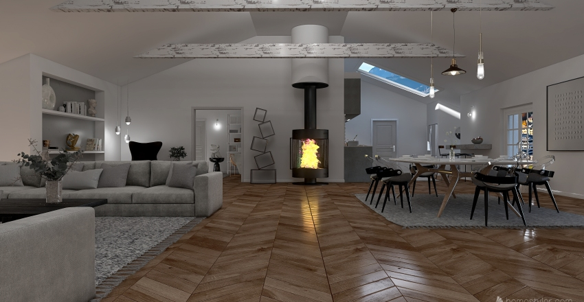 Grey Attic Apartment Interior Design Render