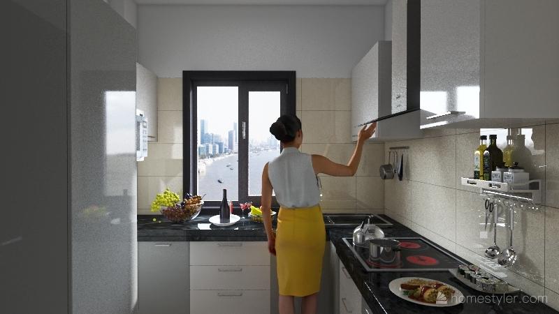 semi modular kitchen Interior Design Render