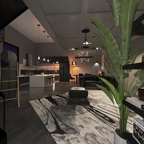 black modern studio Interior Design Render