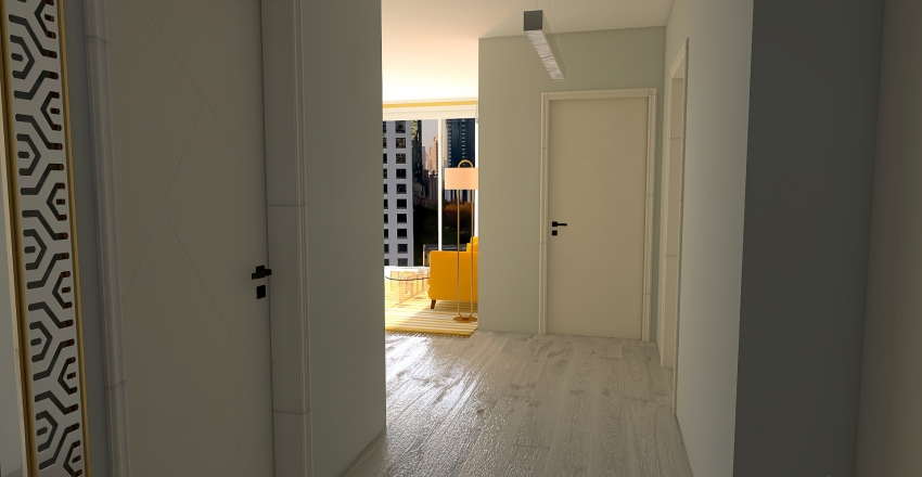 Yellow Flat Interior Design Render