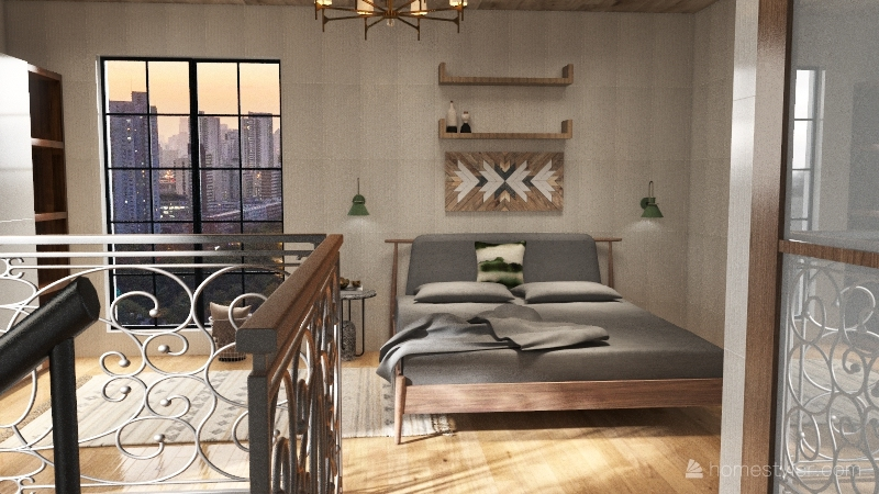 farmhouse style loft appartment Interior Design Render
