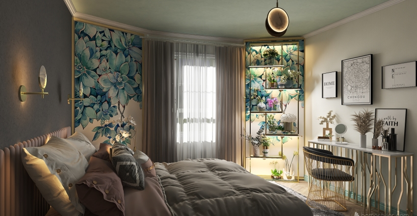 Убежище флориста Interior Design Render