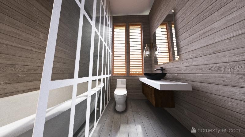 modern gate way warm cabin Interior Design Render