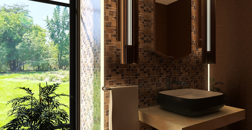 #HSDA2020RESIDENTIAL brown livingroom and bathroom Interior Design Render