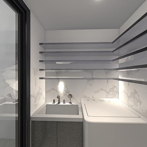 Edícula com churrasqueira Interior Design Render