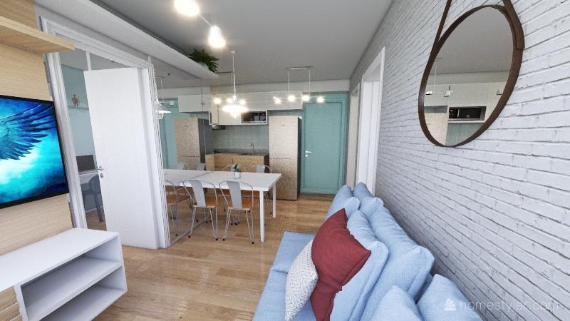 208 inova pirituba . mini apartamento . studio. 34 m² Interior Design Render