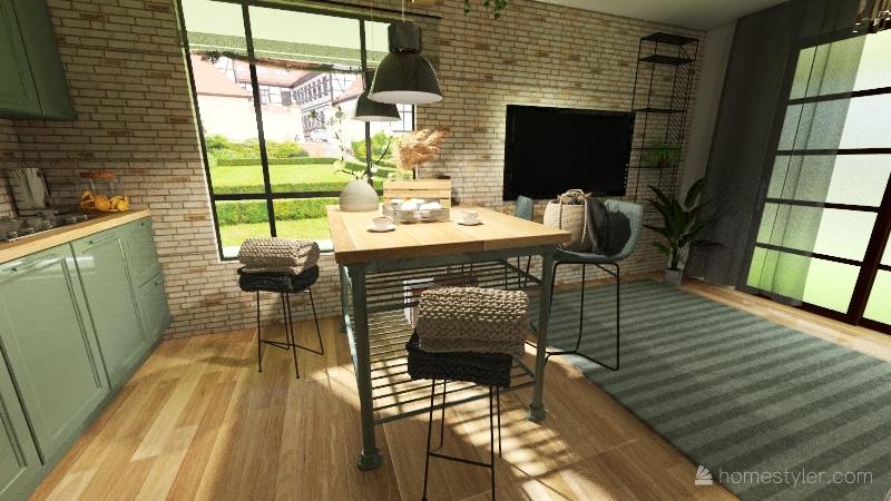 Vitaly- loft table window 2 Interior Design Render
