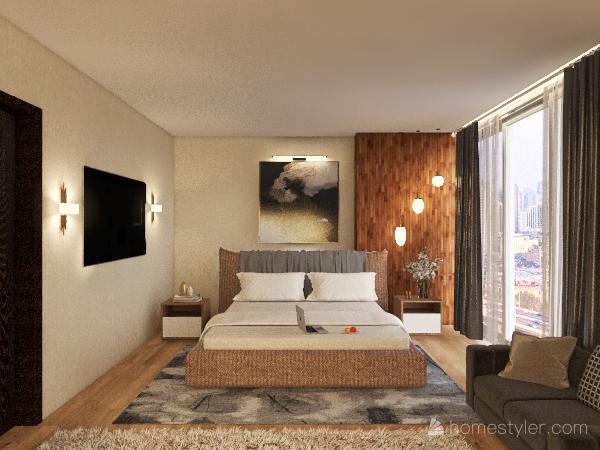 bedroom with dressing Interior Design Render