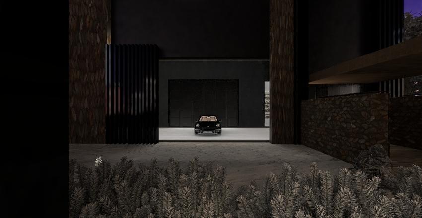 Black snow house getaway Interior Design Render