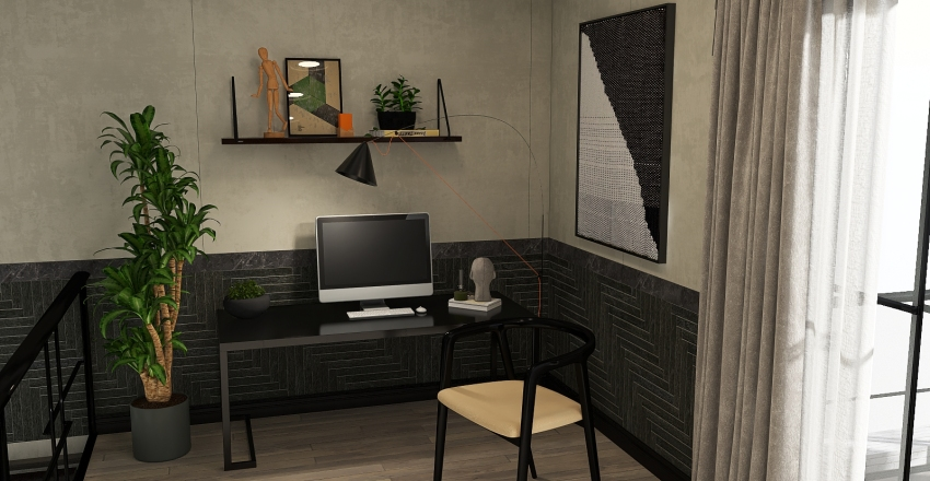 Two-storey apartment with Bauhaus model collection Interior Design Render