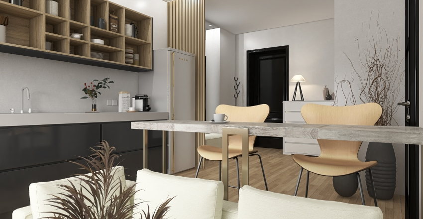One bedroom apartment for just married  Interior Design Render