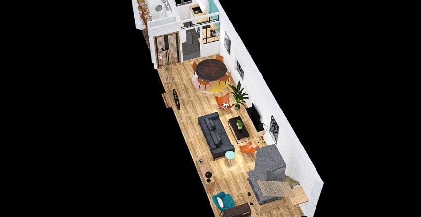 Living Room - Kitchen Interior Design Render