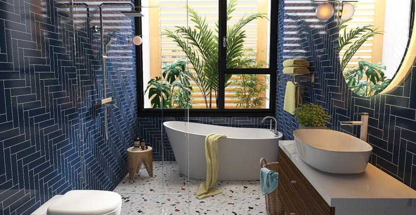 Cuarto de Baño en tonos blancos Interior Design Render