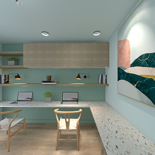 Mommy and Me Home Office/Study Room Interior Design Render