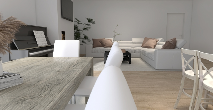 Petit appartement de style ferme moderne en Californie Interior Design Render