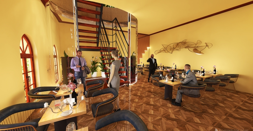 Arabella Wine Bar & Dining restaurant Interior Design Render