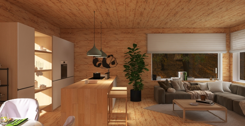 Small Cabin in the Woods Interior Design Render