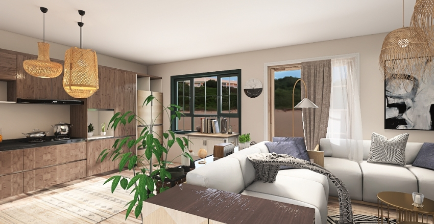 maisonette appartment Interior Design Render