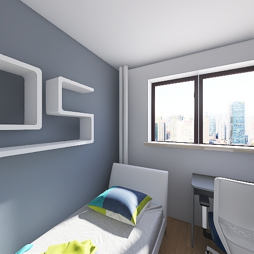 Pokoik Eryk Łóżko Sofa rozkładana Interior Design Render