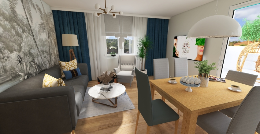 Village House in traditional style Interior Design Render