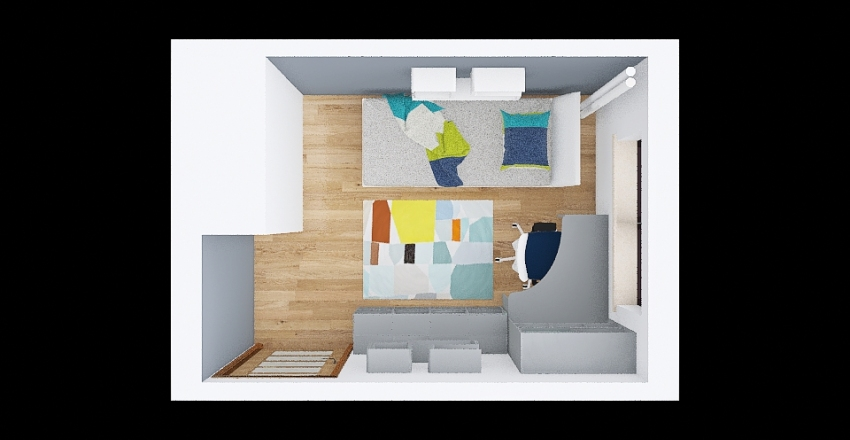 Pokoik Eryka Żółte akcenty Interior Design Render