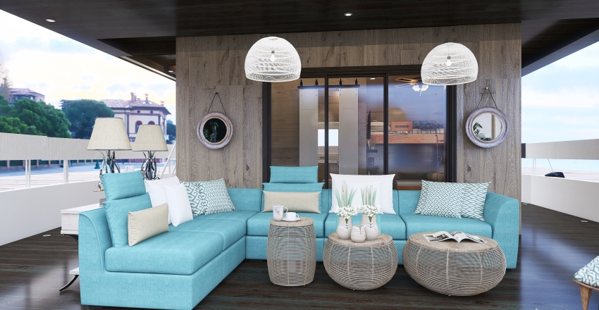 Tiny Houseboat in the Harbor Interior Design Render