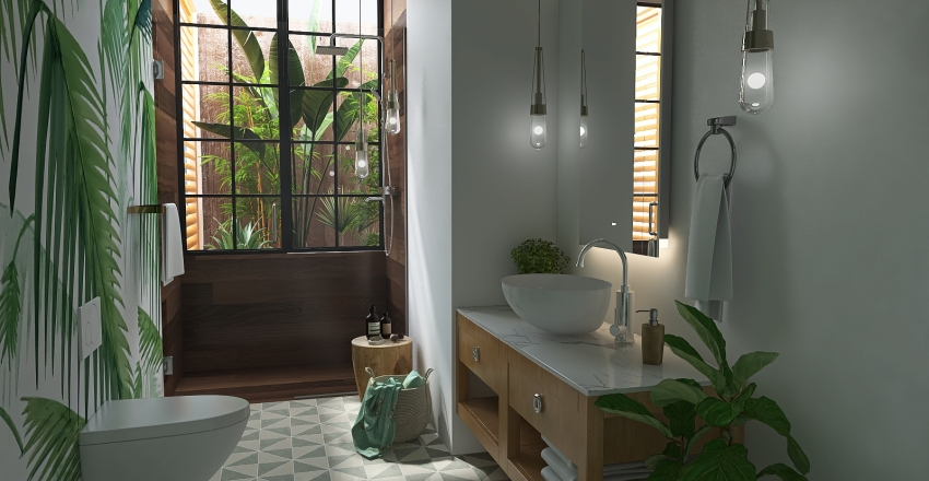 Cuarto de baño Tropical Interior Design Render