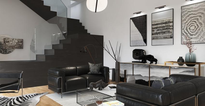 Bauhaus Black and White Interior Design Render