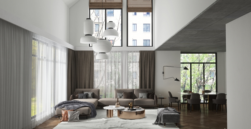 Multi Floor Demo 3 - Living room with tall ceiling Interior Design Render