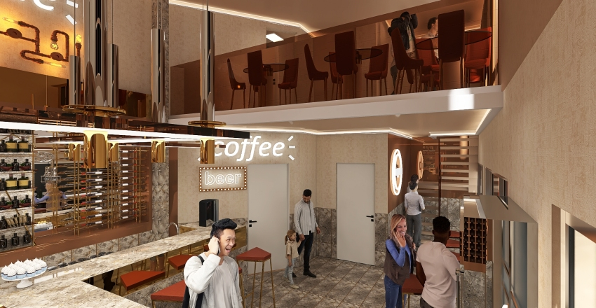 bar Interior Design Render