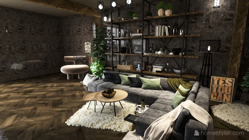 industrial cozy Interior Design Render