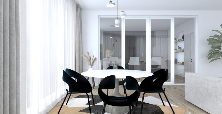 Modern and Minimal City Apartment Interior Design Render