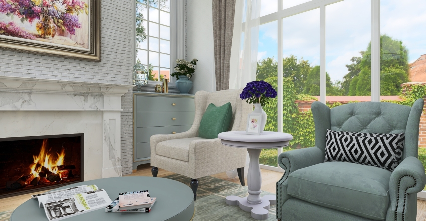 Romantic Shabby Chic Small Cottage House Interior Design Render