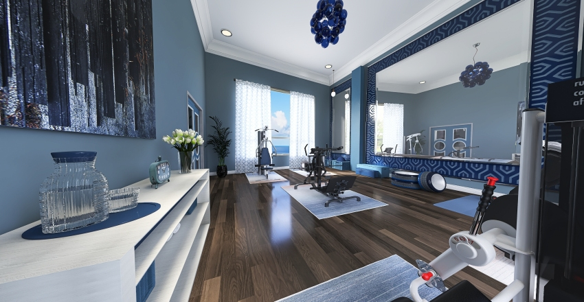 Home Theater and Gym Interior Design Render
