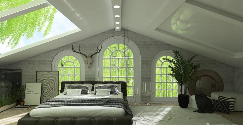 bedroom in the trees Interior Design Render