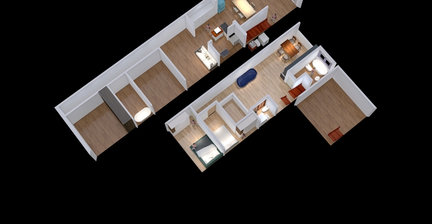 Maxi with Rooftop terrace Adjusting Interior Design Render