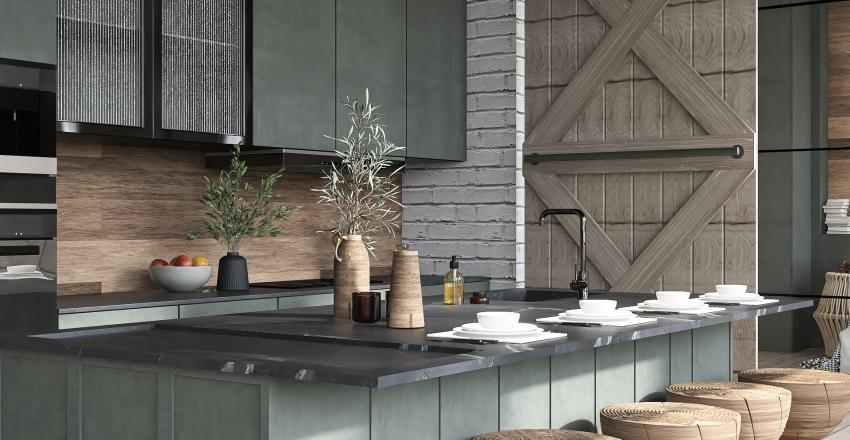 Vintage and Industrial Loft Interior Design Render