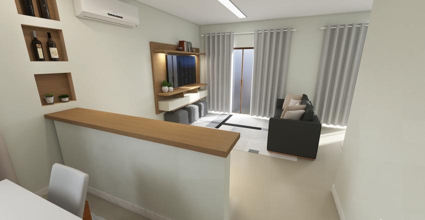 sala de Estar e Jantar Interior Design Render