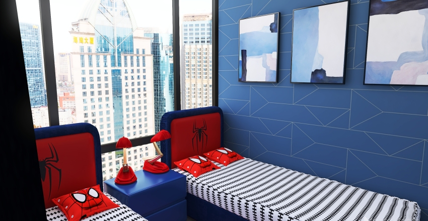 Marvel Hotel Spiderman room Interior Design Render