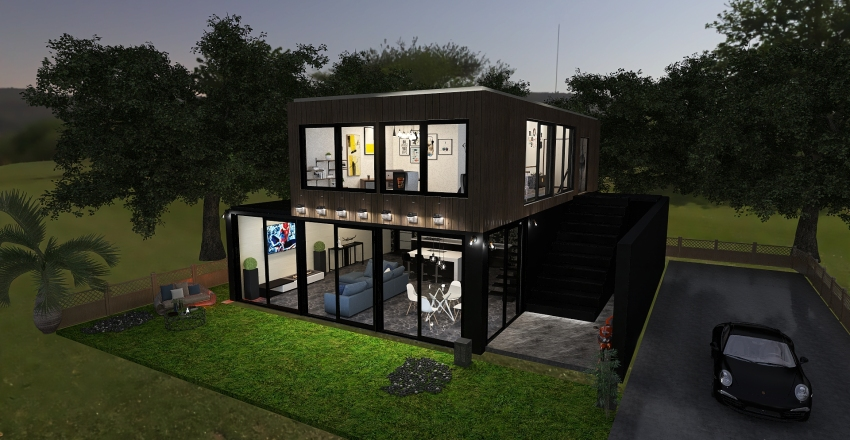 Container House Interior Design Render