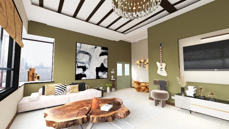 Living Room of Apartment Interior Design Render