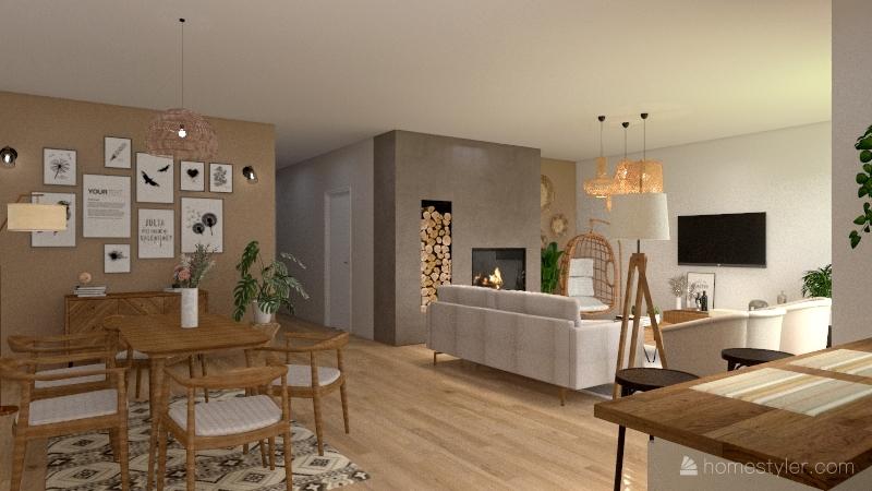 Modern Boho House Interior Design Render