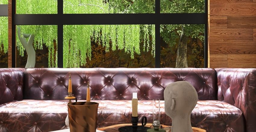 small loft in the forest Interior Design Render