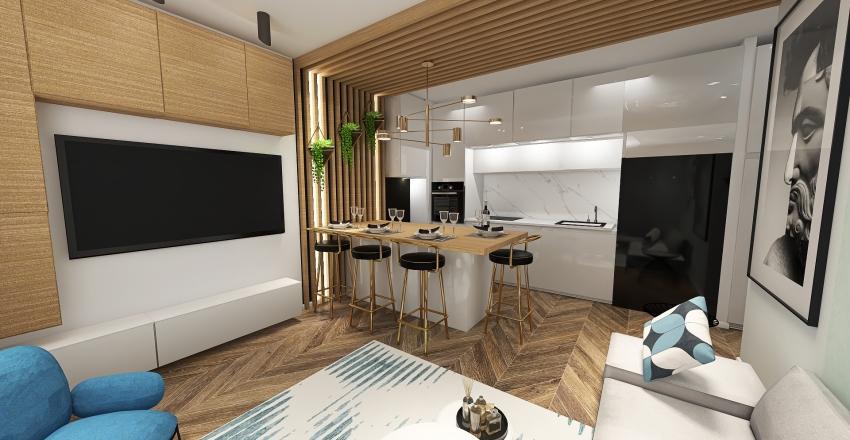 biała kuchnia wolna wanna Interior Design Render