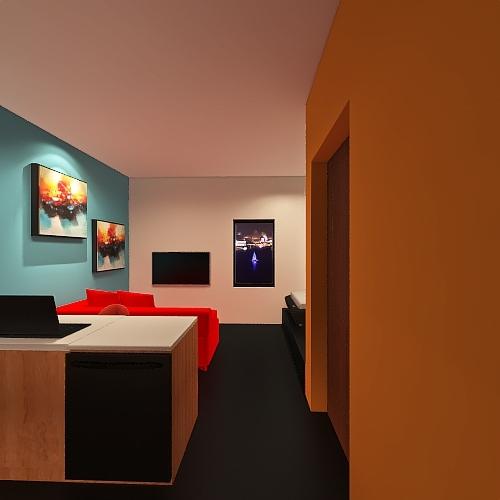 Departamento 5x5 metros Interior Design Render